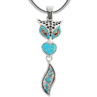 Sterling Silver Fox Pendant Turquoise P3168-C05