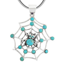 Sterling Silver Spider Pendant Turquoise P3166-SM-C05