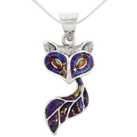 Sterling Silver Fox Pendant Purple Turquoise P3160-C07