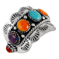 Multi Gemstone Ring Sterling Silver R2333-C71