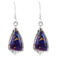 Sterling Silver Earrings Purple Turquoise E1065-C77