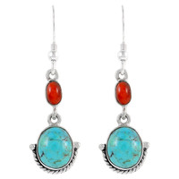 Sterling Silver Earrings Turquoise & Spiny E1218-C85