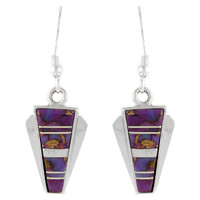 Sterling Silver Earrings Purple Turquoise E1227-C07
