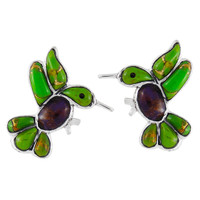 Sterling Silver Hummingbird Earrings Multi Gemstones E1188-C98