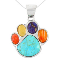 Sterling Silver Paw Pendant Multi Gemstones P3178-C71