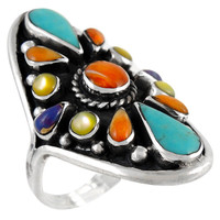 Multi Gemstone Ring Sterling Silver R2034-C71
