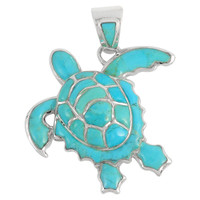 Sterling Silver Turtle Pendant Turquoise P3180-C05