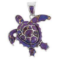 Sterling Silver Turtle Pendant Purple Turquoise P3180-C07