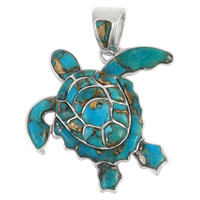 Sterling Silver Turtle Pendant Matrix Turquoise P3180-C84