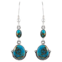 Sterling Silver Earrings Matrix Turquoise E1218-C84