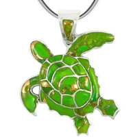 Sterling Silver Turtle Pendant Green Turquoise P3180-C06