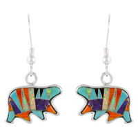 Sterling Silver Bear Earrings Multi Gemstones E1234-C01