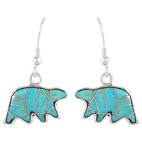 Sterling Silver Bear Earrings Turquoise E1234-C05