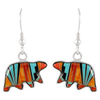 Sterling Silver Bear Earrings Multi Gemstones E1234-C03