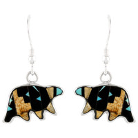 Sterling Silver Bear Earrings Multi Gemstones E1234-C04
