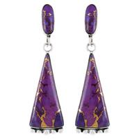 Sterling Silver Earrings Purple Turquoise E1216-C77