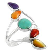 Multi Gemstone Ring Sterling Silver R2406-C71