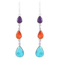 Sterling Silver Chandelier Earrings Multi Gemstones E1241-C71