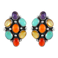 Sterling Silver Earrings Multi Gemstones E1242-C71