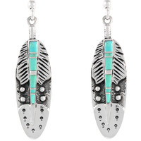 Sterling Silver Feather Earrings Turquoise E1244-C05