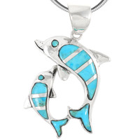 Sterling Silver Dolphin Pendant Turquoise P3211-SM-C05