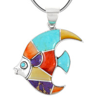 Sterling Silver Fish Pendant Multi Gemstone P3210-C01