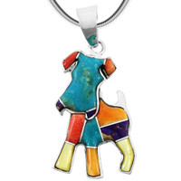 Sterling Silver Puppy Dog Pendant Multi Gemstones P3240-C01
