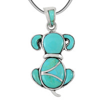 Sterling Silver Puppy Dog Pendant Turquoise P3244-C05