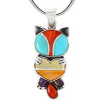 Sterling Silver Kitty Cat Pendant Multi Gemstones P3249-C01