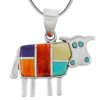 Sterling Silver Cow Pendant Multi Gemstone P3231-C01