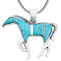 Horse Jewelry Pendant Sterling Silver Turquoise P3049-SM-C05