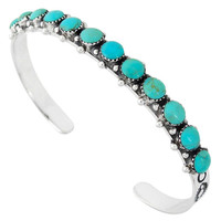 Turquoise Bracelet Sterling Silver B5426-C75