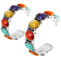 Sterling Silver Hoop Earrings Multi Gemstones E1245-C71