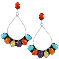 Sterling Silver Earrings Multi Gemstones E1246-C71