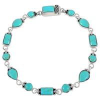 Turquoise Link Bracelet Sterling Silver B5553-C75