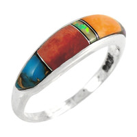 Sterling Silver Stackable Ring Multi Gemstone R2052-C01