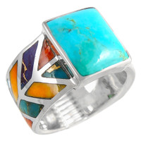 Multi Gemstone Ring Sterling Silver R2372-C01