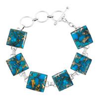 Matrix Turquoise Link Bracelet Sterling Silver B5559-C84