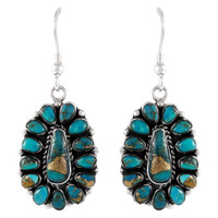 Sterling Silver Earrings Matrix Turquoise E1034-C84