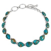 Matrix Turquoise Link Bracelet Sterling Silver B5565-C84