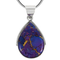 Sterling Silver Pendant Purple Turquoise P3075-BAIL-C77