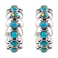 Sterling Silver Hoop Earrings Matrix Turquoise E1256-C84
