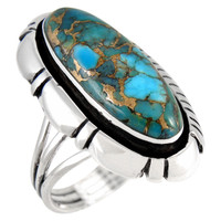 Matrix Turquoise Ring Sterling Silver R2380-C84