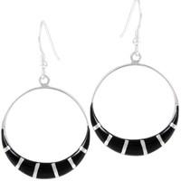 Sterling Silver Earrings Black E1260-C11