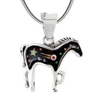 Sterling Silver Horse Pendant Black Opal P3109-C27
