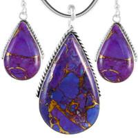 Sterling Silver Pendant & Earrings Set Purple Turquoise PE4054-C77