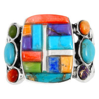 Multi Gemstone Ring Sterling Silver R2435-C51
