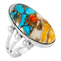 Spiny Turquoise Ring Sterling Silver R2242-LG-C89