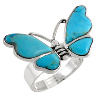 Butterfly Ring Sterling Silver Turquoise R2439-C75