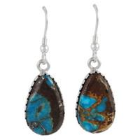 Sterling Silver Earrings Lava Rock Turquoise E1261-C95